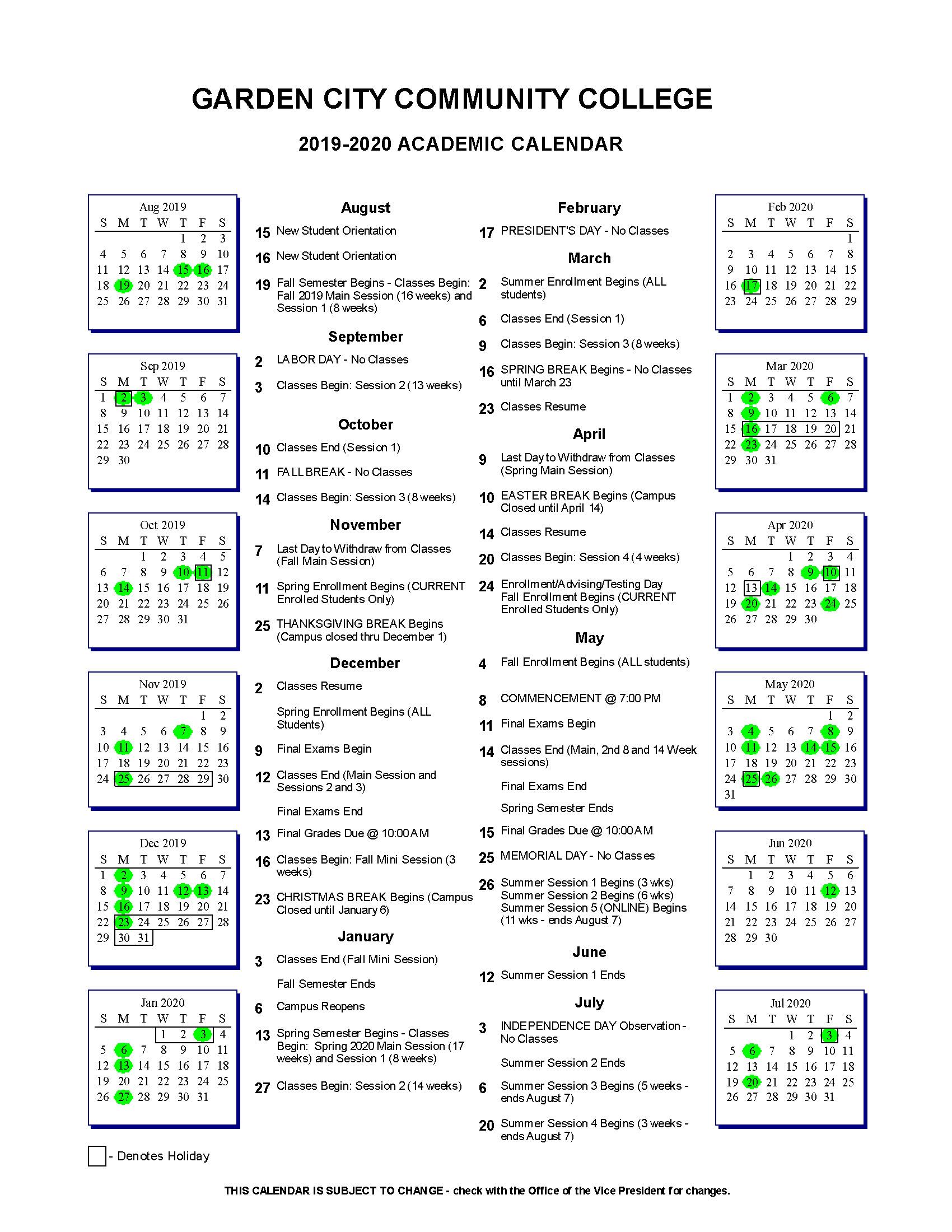 Gcc Calendar.Academic Calendar